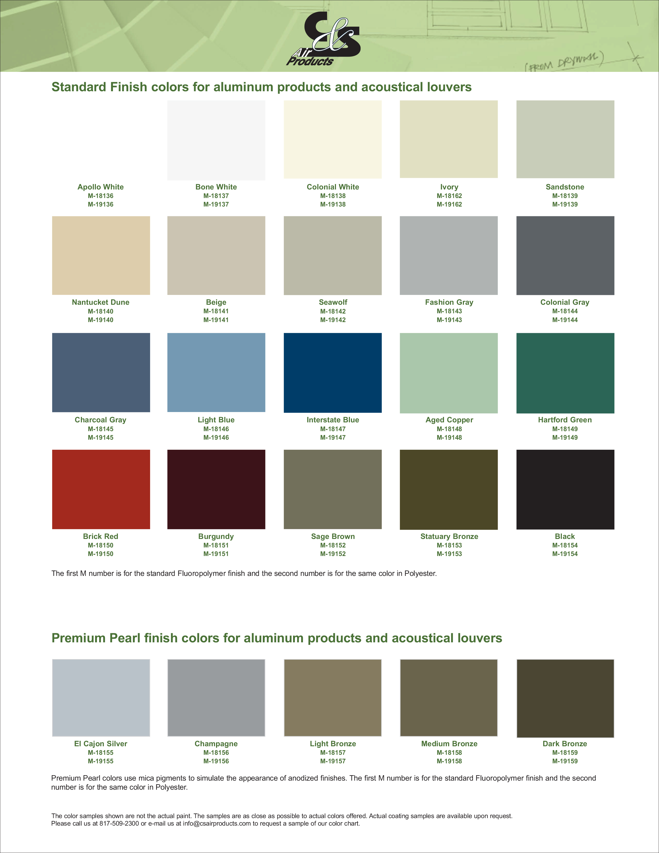 Standard Finish Colors For Aluminum Products And Acoustical Louvers